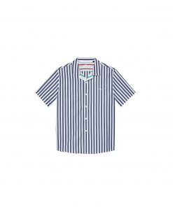Camp-collar shirt in yarn dyed poplin. Short sleeves and contrasting-colour striped pattern.