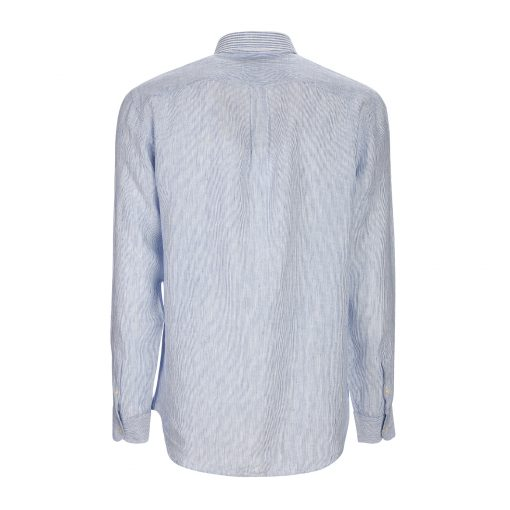 Five-fabric patchwork shirt in pure yarn-dyed linen. Contrasting embroidered dachshund on the left side.
