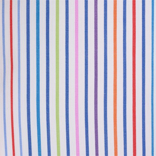 Striped pure cotton shirt. Embroidered dachshund on the left side and buttoned collar.