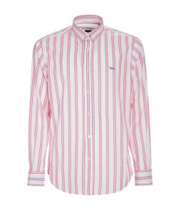 Striped, yarn-dyed poplin shirt. Contrasting embroidered dachshund on the left side.