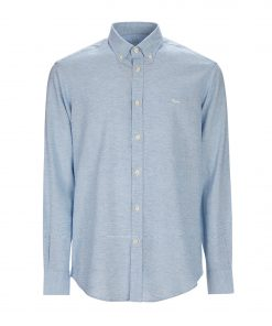 Plain-coloured shirt made from micro-structured linen blend fabric. Embroidered dachshund on the left side and buttoned collar.