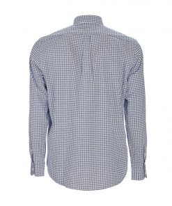 Pure cotton poplin shirt with micro print. Embroidered dachshund on the left side and buttoned collar.