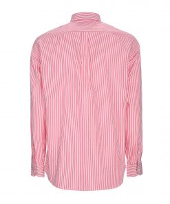 Striped pure cotton shirt. Embroidered dachshund on the left side.