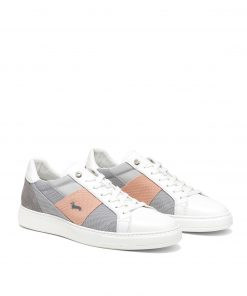 Leather sneaker with upper in a mix of 8 fabrics including: leather,