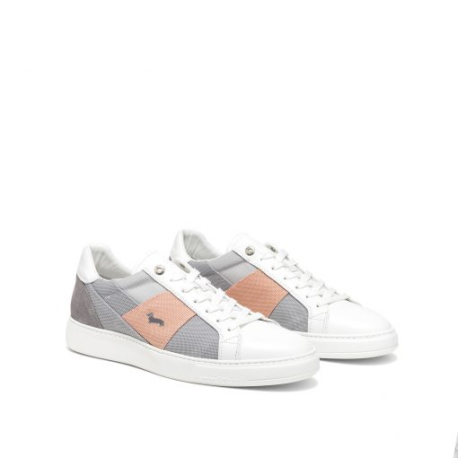 """Leather sneaker with upper in a mix of 8 fabrics including: leather, """"air-mesh"""" fabric and Nylon Ripstop fabric, extremely soft and resistant. Ultra-lightweight EVA box bottom with raised footbed. Embroidered dachshund logo on the side upper."""