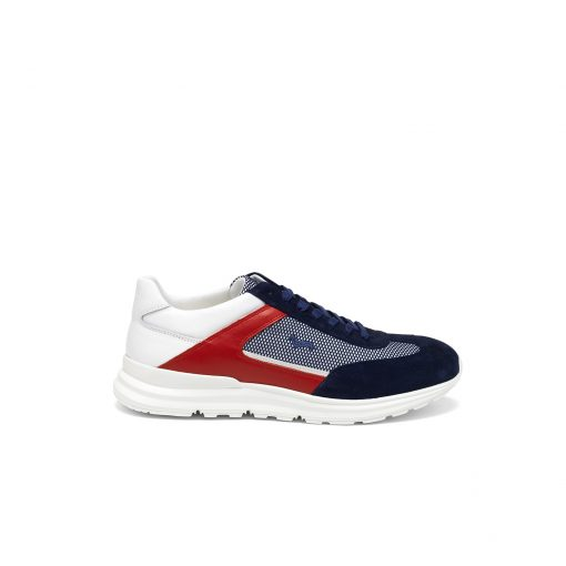 Multicoloured sneaker in leather, suede and fabric. Ultralight two-tone EVA bottom. Contrasting embroidered dachshund logo on the side upper.