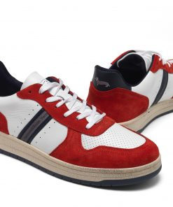 Vintage-style faded suede and leather sneaker. Two-tone TR box bottom. Logo engraved on the tongue and embroidered on the heel. Logo ribbon detail on the side upper.